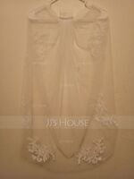One-tier Lace Applique Edge Elbow Bridal Veils With Rhinestones/Lace (006141344)