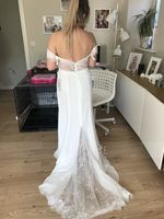 Trumpet/Mermaid Off-the-Shoulder Court Train Chiffon Lace Wedding Dress With Beading Sequins (002119786)