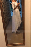 Off-the-Shoulder Asymmetrical Satin Tulle Lace Wedding Dress With Sequins (265232507)