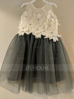 Knee-length Flower Girl Dress - Tulle Lace Sleeveless Scoop Neck (269250917)