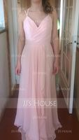 A-Line Sweetheart Floor-Length Chiffon Bridesmaid Dress With Cascading Ruffles (266253096)
