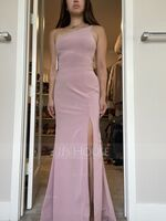 Sheath/Column One-Shoulder Floor-Length Stretch Crepe Prom Dresses With Split Front (272249056)