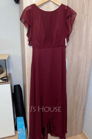 A-Line Scoop Neck Asymmetrical Prom Dresses With Ruffle (018254400)