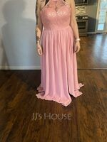 Scoop Neck Floor-Length Chiffon Lace Bridesmaid Dress With Split Front (266233348)