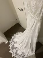 Trumpet/Mermaid Scoop Neck Court Train Stretch Crepe Wedding Dress (002118439)