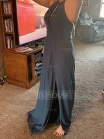 A-Line Scoop Neck Floor-Length Chiffon Bridesmaid Dress With Ruffle Split Front (007221214)