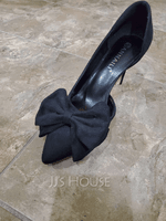 Women's Suede Stiletto Heel Closed Toe Pumps With Bowknot (047109372)