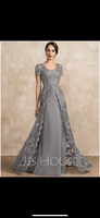 A-Line Square Neckline Sweep Train Chiffon Lace Mother of the Bride Dress (008217315)