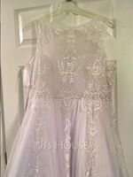 Ball-Gown/Princess Scoop Neck Sweep Train Tulle Prom Dresses With Beading (018187216)