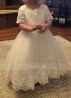 Knee-length Flower Girl Dress - Satin Short Sleeves Scoop Neck With Bow(s) (269197626)