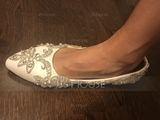 Women's Leatherette Flat Heel Closed Toe Flats With Rhinestone (273210558)