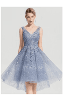 A-Line V-neck Asymmetrical Tulle Cocktail Dress With Sequins (016155116)