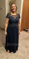 A-Line Scoop Neck Ankle-Length Chiffon Lace Mother of the Bride Dress With Sequins (008235558)