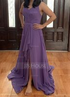 A-Line V-neck Floor-Length Chiffon Bridesmaid Dress With Ruffle Split Front (266256667)