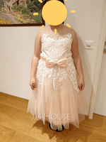 A-Line Tea-length Flower Girl Dress - Tulle Sleeveless Scalloped Neck With Lace/Beading/Rhinestone/Back Hole (010236830)