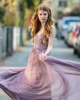 A-Line V-neck Floor-Length Tulle Evening Dress With Lace Beading Sequins Split Front (017229889)