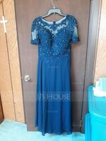 A-Line Scoop Neck Floor-Length Chiffon Lace Mother of the Bride Dress With Beading Sequins (008225566)
