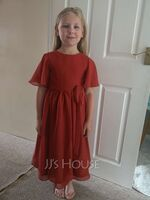 Scoop Neck Knee-Length Chiffon Junior Bridesmaid Dress With Bow(s) (268264509)