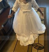 Floor-length Flower Girl Dress - Tulle Lace 1/2 Sleeves Scoop Neck With Bow(s) (269227810)