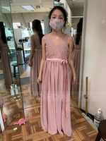 V-neck Floor-Length Chiffon Junior Bridesmaid Dress With Ruffle Bow(s) (268193543)
