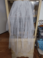 Two-tier Fingertip Bridal Veils With Beaded Edge (006039813)