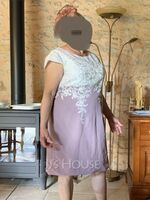 Sheath/Column Scoop Neck Knee-Length Chiffon Lace Mother of the Bride Dress (008204935)