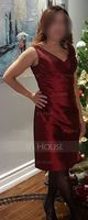 Sheath/Column V-neck Knee-Length Taffeta Bridesmaid Dress With Ruffle (266195780)