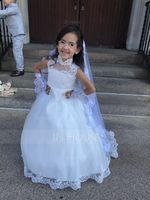 Ball-Gown/Princess Sweep Train Flower Girl Dress - Satin/Tulle Sleeveless Mandarin collar With Beading/Appliques (010104991)