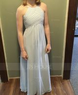 A-Line/Princess Scoop Neck Floor-Length Chiffon Junior Bridesmaid Dress With Ruffle (268177154)