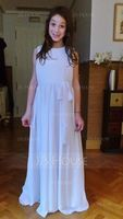 Empire Floor-length Flower Girl Dress - Chiffon Sleeveless Scoop Neck With Bow(s) (269193690)
