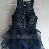 Ball-Gown/Princess Scoop Neck Short/Mini Tulle Homecoming Dress With Sequins (300244233)
