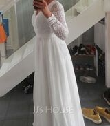 A-Line V-neck Floor-Length Chiffon Evening Dress With Lace (017250114)