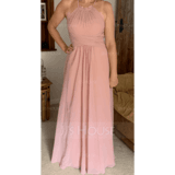 Scoop Neck Floor-Length Chiffon Bridesmaid Dress With Bow(s) Cascading Ruffles (266230848)