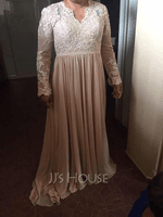 A-Line V-neck Floor-Length Wedding Dress With Lace (002254063)