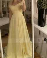 A-Line Off-the-Shoulder Sweep Train Chiffon Evening Dress With Beading Sequins (017186153)