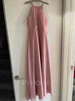 Scoop Neck Floor-Length Chiffon Junior Bridesmaid Dress With Ruffle (268257075)