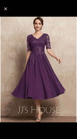 A-Line V-neck Tea-Length Chiffon Lace Mother of the Bride Dress With Sequins (008225569)