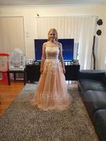 Ball-Gown/Princess Square Neckline Floor-Length Tulle Prom Dresses With Lace Sequins (018220272)
