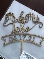 "Personalized Vintage Style/""Mr. & Mrs.""/Name And Date Wooden Cake Topper (118251110)"