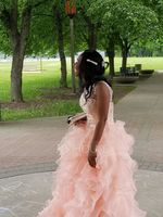 Ball-Gown Scoop Neck Floor-Length Organza Prom Dresses With Beading Sequins (018113750)
