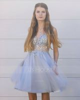 V-neck Short/Mini Tulle Prom Dresses With Beading (272236544)