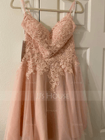 A-Line V-neck Short/Mini Tulle Prom Dresses With Beading Sequins (018229952)