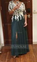 A-Line V-neck Floor-Length Chiffon Evening Dress With Split Front (017198659)