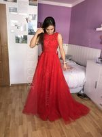 A-Line/Princess Scoop Neck Court Train Tulle Lace Prom Dresses With Beading (018109310)