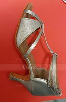 Women's Leatherette Sparkling Glitter Heels Sandals Latin With T-Strap Ankle Strap Dance Shoes (274194914)