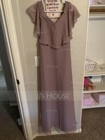 V-neck Floor-Length Chiffon Junior Bridesmaid Dress (268255959)