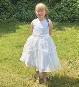 A-Line Knee-length Flower Girl Dress - Organza Sleeveless Scoop Neck With Beading/Flower(s)/Bow(s) (010095187)