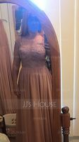 Scoop Neck Floor-Length Chiffon Lace Bridesmaid Dress With Split Front (266236371)