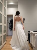 V-neck Sweep Train Chiffon Lace Wedding Dress With Lace (265256025)