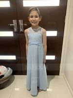 Floor-length Flower Girl Dress - Chiffon Lace Sleeveless Scoop Neck With Bow(s) (269202896)